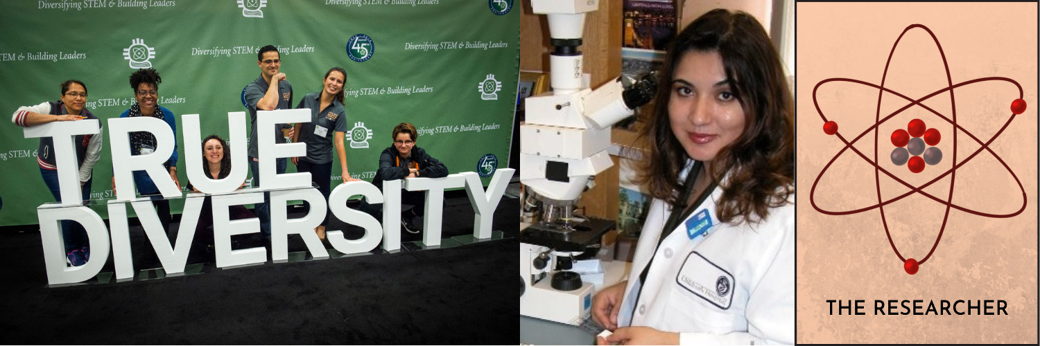 Pictured: SACNAS members posing with a sign that says TRUE DIVERSITY