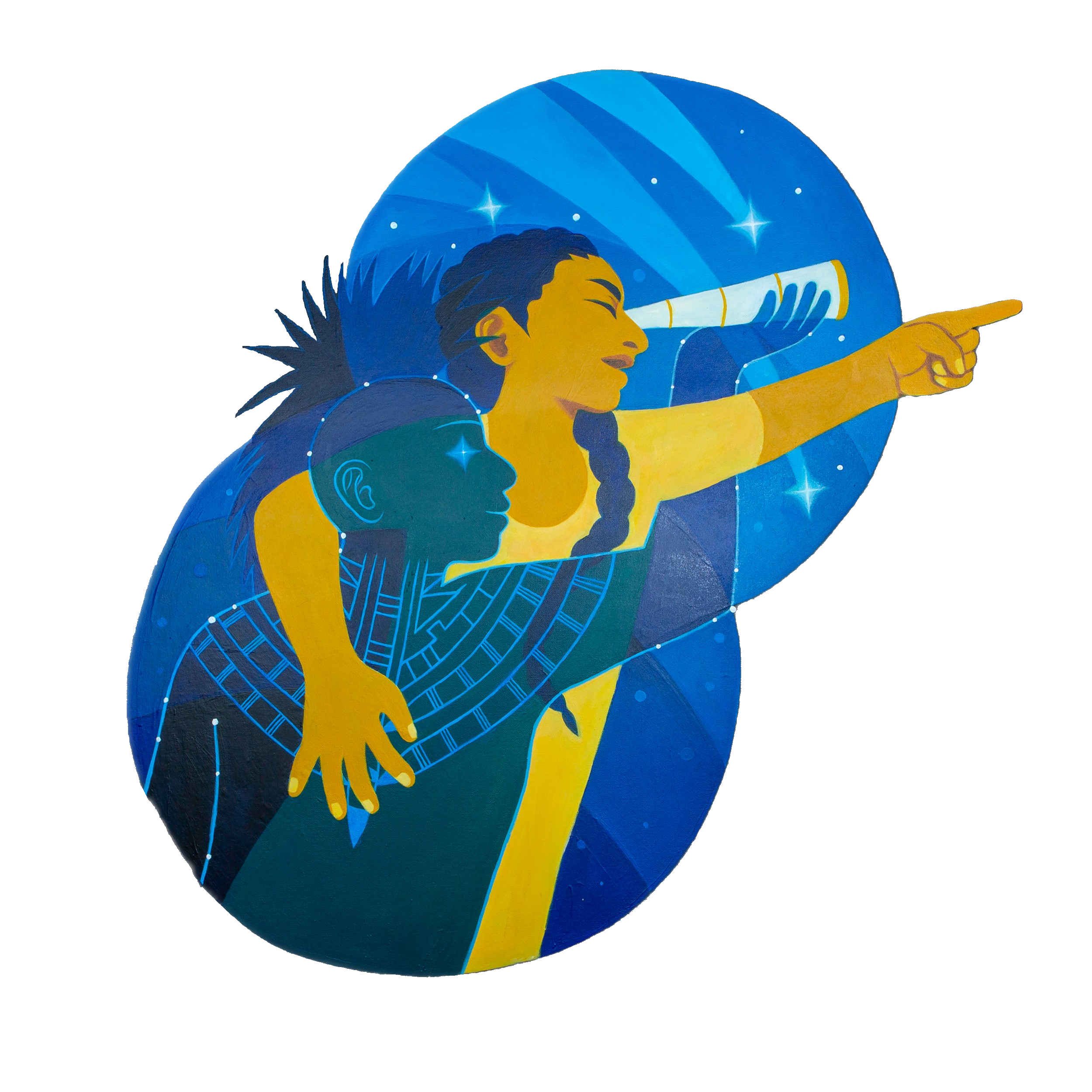 Conference Artwork of woman with telescope pointing forward, with indigenous ancestor leading the way
